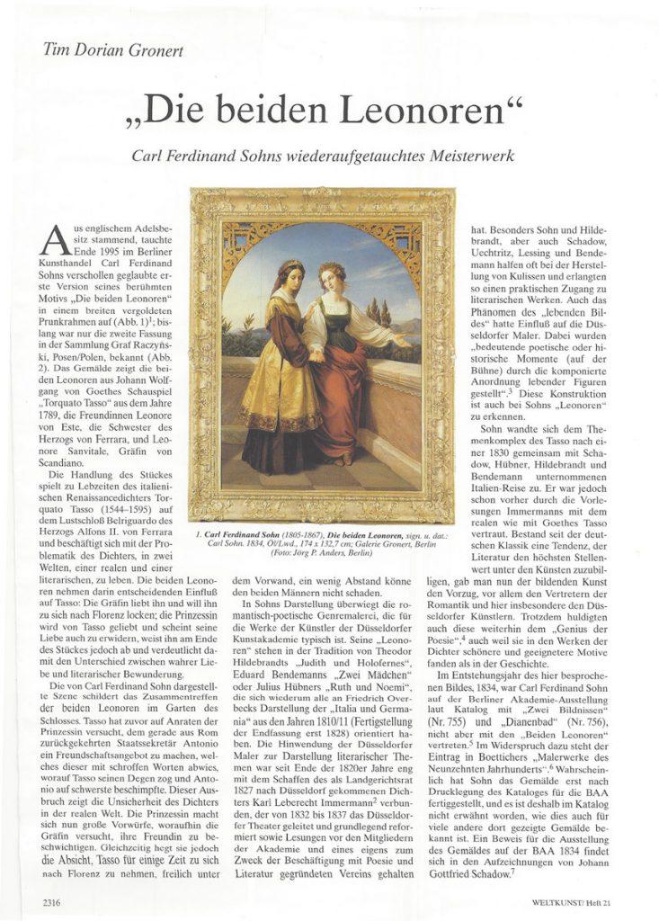Carl Ferdinand Sohn, Die beiden Leonoren, 1834, Tim D. Gronert