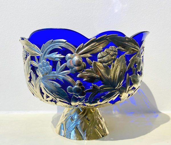 Silberschale mit Glaseinsatz, Josef Carl Klinkosch Wien, nach 1921