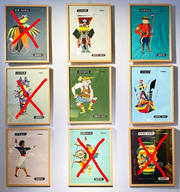 Set von fünf Qantas-Postern, Harry Rogers, 1950er Jahre